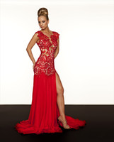 Wholesale Prom Dress New Red Lace Pageant Dress High Split A Line Evening Dress R Mac Duggal