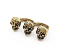Wholesale New Arrived Simply Bronze Alloy Double Finger Skull Ring