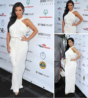 Floor-Length One-Color Sexy Custom Made 2013 Sexy Kim Kardashian Amberlounge Fashion Monaco Halter Chiffon Celebrity Dresses