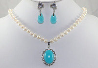 Wholesale nice mm white pearl amp blue jade necklace pendant earrings
