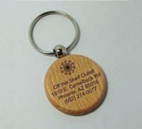 Wholesale 50X Blank Wooden Key Chain Circle Keychains Free Engraving keyring