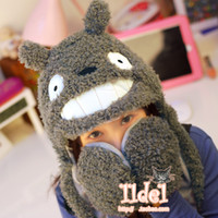 Wholesale Totoro totoro trophonema scarf hat gloves one piece plush hat grey