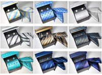 Wholesale newest brand man dress suit ties kerchief cuff link set gift box tie set