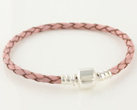 Wholesale Authenti pink leather Chain Bracelet Link Sterling Silver Murano Beads European Chain Jewelry