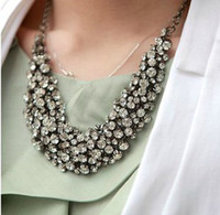 Wholesale Luxury Layered Handcrafted Crystals Rhinestone Bib Choker Chunky Necklace