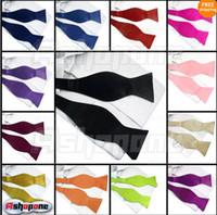 Wholesale New Mens Solid Color Plain Silk Self Tie Bow Tie