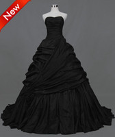 Wholesale A line Strapless Actual Images Pleated Ruffle Taffeta Floor Length gothic victorian Wedding Dresses