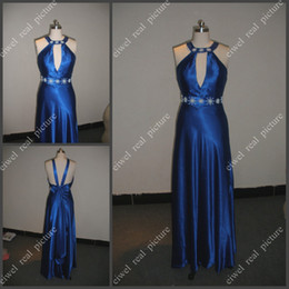Wholesale Appliqued Ankle Length Party Dresses A Line Halter Pagent Prom Gowns with Bowknot in the Back
