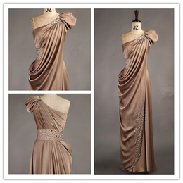 Wholesale 2013 New Arriva Satin One Shoulder Handmade Beads Floor length Evening Dress Evening Gown