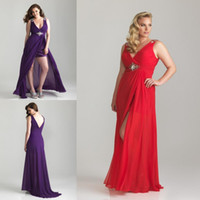 Wholesale Sexy Purple V neck Hi Lo Chiffon Beaded Pleated Evening Dress Crystal Sequin Beaded Prom Party Formal Dresses Gown Backless Floor length