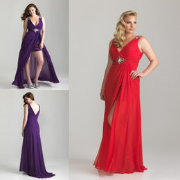 Wholesale 2013 Sexy Purple V neck Hi Lo Chiffon Beaded Pleated Evening Dress Prom Party Formal Dresses Gown