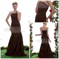 Model Pictures Ruffle Sleeveless Modest strapless ruched bodice mermaid floor length brown bridesmaid dresses evening dresses BM646