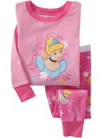 Wholesale Cheap Pajamas Wholesale - 2014 Cheap Children Clothing Sets ,girls cotton pajamas with printed cartoon,kids sleepwear 6 sets lot