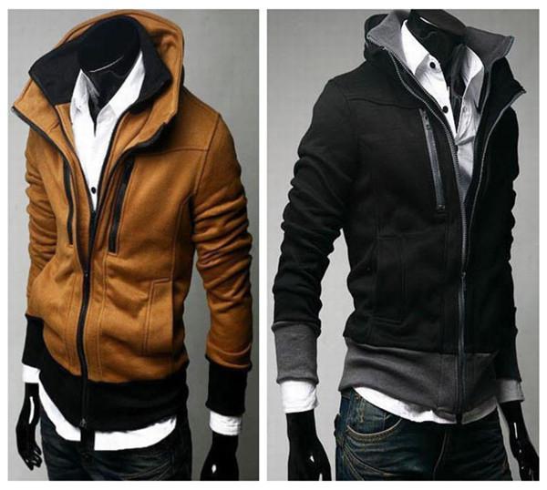 Stylish Mens Hoodies Slim Fit Men Sport Hoodies Designer Winter Solid Fleece Double Zippers US XSSML