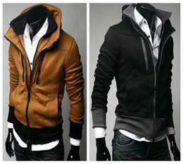 Wholesale Stylish Mens Hoodies Slim Fit Men Sport Hoodies Designer Winter Solid Fleece Double Zippers US XSSML