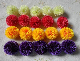 "Wholesale Silk Carnation Wedding Bouquets - Silk Carnation Flower Head Dia. 5cm 1.97"" 100Pcs Artificial Flowers Carnations Chrysanthemum 5 Colors for DIY Bridal Bouquet Accessories"