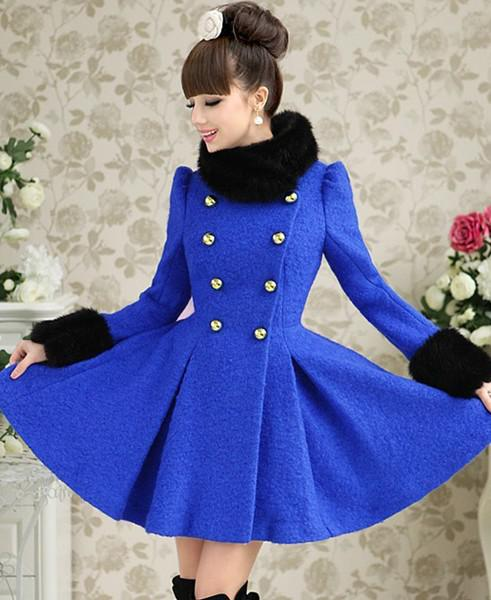 2013 Sweet Fashion Women Coat Blue Sheep Fur Collar Long Winter