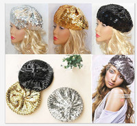 Wholesale Hot sale Sequins cap peaked cap fashion sequin hats fedora hats Hip hop hats cheap new Berets hats