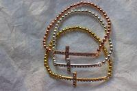 Metal beaded sideways cross bracelet - DIY HOT mm Mixed Plated Copper Beads Rhinestone Crystal Connectors Sideways Cross Bracelets