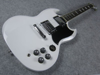 Solid Body 6 Strings Mahogany Electric Guitar, White,Double Cut Way, SG Guitar
