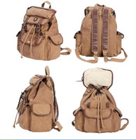 Wholesale Vintage Women Canvas Rucksack shoulder bag backpack leather trim Schoolbags