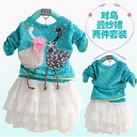 Wholesale children spring suits girl s beautiful swans embroidery piece set dresses shirt skirt