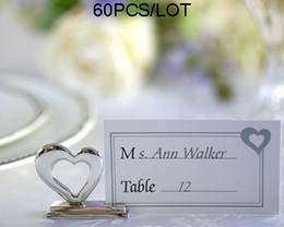 """Wedding Card holder""""Playful Hearts"""" Silver Placecard Holders with Matching Place Cards 60pcs lot"""