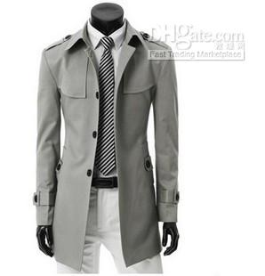 2017 New Trench Coats Casual Men Slim Men's Fashion Single ...