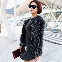 Wholesale Weatern style Luxury rabbit fur coats round neck long sleeve short fur overcoat fashion black coat