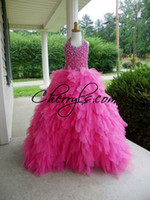 Wholesale 2016 Newest Girls Pageant Dresses Halter Beaded PERFECT ANGELS Hot Pink Kids Prom Party Birthday Gift Ball Gowns