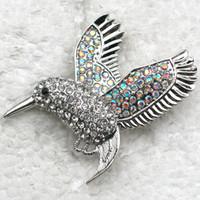 Western style aurora gold - C330 F Aurora Borealis amp Clear Crystal Rhinestone Hummingbird Fashion Pin Brooch jewelry gift