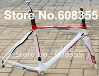 Wholesale FR P3 Full Carbon K Glossy Road Bike Bicycle Frame red white Fork Seatpost Clamp headset cm