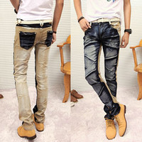 Wholesale Hot Korean jeans male fashion fight the color pressure Zou Men Slim small feet stretch denim