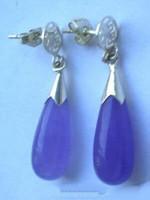 Wholesale Purple Jade Drip Silver Fortune Dangle Earrings