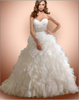 Wholesale Luxury NEW Sexy Bridal Gowns Sweetheart Beads Crystal Sash Organza Wedding Dresses Bridal Dress Gown
