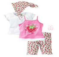 Wholesale baby girl s casual suit girls sleeveless flower pink t shirt short pants beach triangle set vf