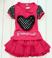 Wholesale Girls fashion suits Love applique lace T shirt Tutu dress suits Girl s short dot Tutu dress ktt