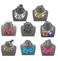 statement necklaces - New geometry Ribbon Luxury Big Rhinestone Crystal Collar Bib Statement Necklaces mix color