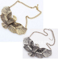 Wholesale Vintage Style Bronze Silver The Eagle Expanded Its Wings Choker Bib Necklace mix color