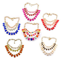 Colorful Resin Drop Choker Necklace Charming Korea Style New Design multilayer Gold Plated Alloy Chain