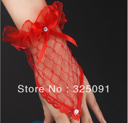 Wholesale Pair Sexy Red Fingerless Wedding Prom Pageant Party Dress Gauze Lace Short Wrist Length Bridal Gloves