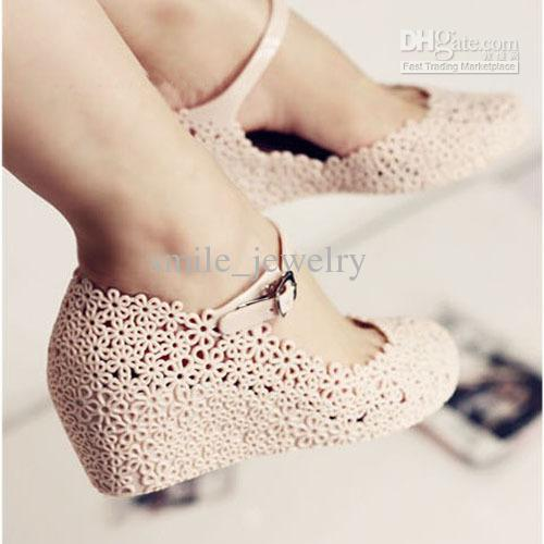 Jelly shoes flower cutout sandals elevator sandals reticularis bird