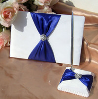 Wholesale White Royal Blue Bow Rhinestone Wedding Ceremony Satin Guest Book amp Pen