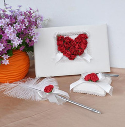 Wholesale Sale Ivory Red Rose Wedding Ceremony Collection Guest Book Pen Pillow Basket