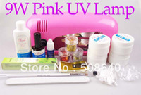 Wholesale Pro Full Set High Quality UV Gel Nail Kit Pink Color UV Lamp W Flase Acrylic Tips Free Decoration Freeshipping
