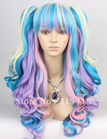 Wholesale Beautiful mixed rainbow color Beautiful long cosplay wigs for ladies dance Party Hair