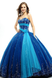 Wholesale New Sexy Strapless Ball Gown Beaded Sequin Quinceanera Dresses Custom made