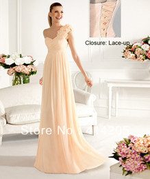 Wholesale New Stock Charming One shoulder Fold Chiffon Sheath Evening Dresses with back Lace Up Size US