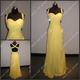 Robes paginées en Ligne-Beaded Ruffled Robes de bal Open Back A Line Longueur au sol Chiffon jaune Ladies Pagent Gowns