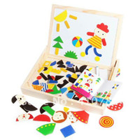 Wholesale Multifunctional children s puzzle magnetic fight fight Lok double sided black and white drawing board wooden toys